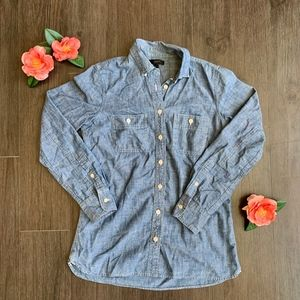 J. Crew Western Chambray Shirt in Vintage Denim